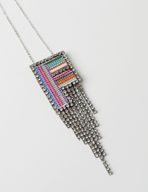 Fashion F Color Alphabet Mixed Color Embroidered Diamond And Fringe Necklace