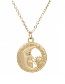 Fashion Golden Cubic Zirconia Crescent Sun Necklace