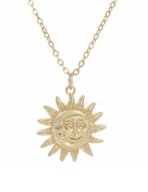 Fashion Golden Copper-set Zircon Sun Necklace