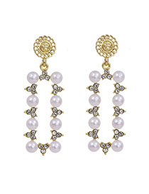 Fashion Golden Alloy Diamond And Pearl Earrings