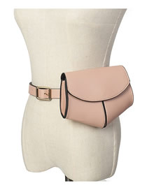 Fashion Pink Stitched Lacquered Belt Buckle Love Flap Bag