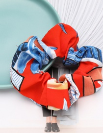 Fashion Red Blue Flower And Grass Contrast Color Pattern Cloth Bowel Hair Rope