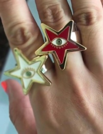 Fashion Red Pentagram Eye Drip Open Ring
