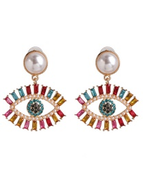Fashion 53093 Double Eyelashes Pearl Eye Cutout Earrings With Diamonds