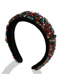 Fashion Color Mixing Pearl Rhinestone Gold Velvet Wide Hoop