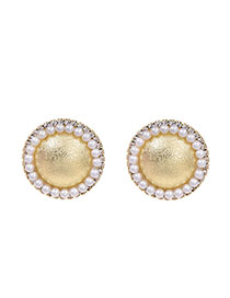 Fashion Golden Resin And Diamond Round Ear Studs