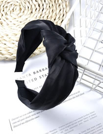 Fashion Black Fabric Satin Knotted Wide Edge Hoop
