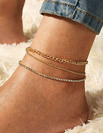 Fashion Golden Set Of Three-layer Anklet With Diamonds