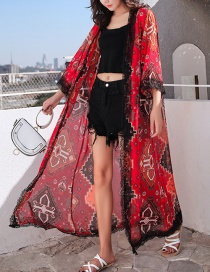 Fashion Red Chiffon Lace Panel Cardigan