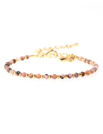 Fashion Pink Flat Faceted Natural Stone Mixed Color Gold-plated Bracelet