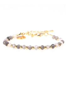 Fashion Color Mixing Flat Faceted Natural Stone Mixed Color Beaded Copper Plated Real Gold Bracelet