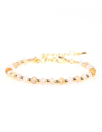 Fashion Yellow Flat Faceted Natural Stone Mixed Color Beaded Copper Plated Real Gold Bracelet