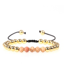 Fashion Ginger Faceted Crystal Beads Braided Copper Beads Adjustable Bracelet
