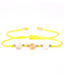 Fashion Yellow Faceted Natural Stone Gold Bead Woven Bracelet