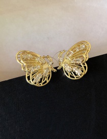 Fashion Bow Golden Butterfly Stud Earrings With Micro Studs And Rhinestones
