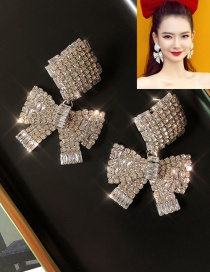 Fashion Silver Geometric Bow Earrings With Diamonds