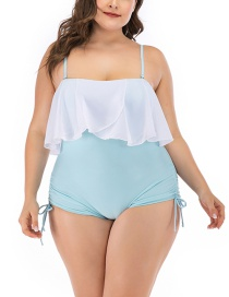 Fashion Light Blue Ruffled Drawstring Straps Plus Size One-piece Female Swimmer