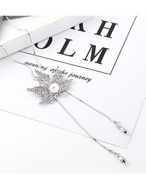 Fashion Platinum Leaf-studded Pearl Necklace  Iron