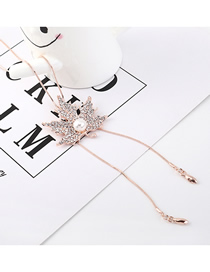 Fashion Rose Gold Leaf-studded Pearl Necklace  Iron