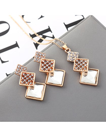 Fashion White Geometric Square Diamond Earrings Necklace Set