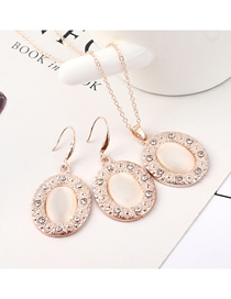 Fashion Gold Disc Diamond Earrings Necklace Set  Alloy