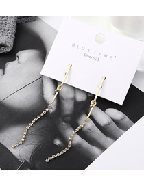 Fashion Gold Plated Gold Crystal Fringed S925 Silver Needle Earrings