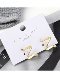 Fashion Gold Plated Gold Letter Z Letter S925 Silver Needle Earrings