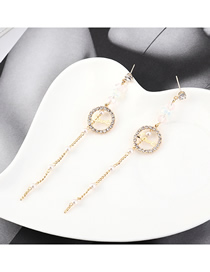 Fashion 14k Gold Plated Gold Love Letter Small Circle Tassel S925 Silver Needle Earrings