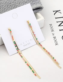 Fashion Gold Atmospheric Long Plated Gold Tassel S925 Silver Needle Earrings