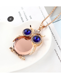 Fashion Champagne Gold + Pink Owl With Diamond Necklace