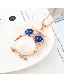 Fashion Champagne Gold + White + Blue Owl With Diamond Necklace