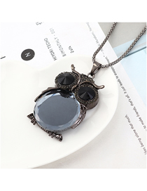 Fashion Gun Black + Black Owl With Diamond Necklace