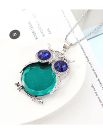 Fashion Platinum + Green Owl With Diamond Necklace