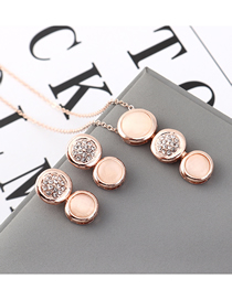 Fashion Pink Opal Stone Light Diamond Necklace Earring Set