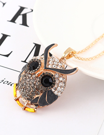 Fashion Black Diamond Owl Head Necklace