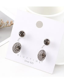 Fashion (platinum) Gold-plated Glamour Eye S925 Silver Needle Earrings