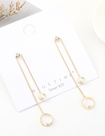 Fashion Gold Plated Gold Tassel Small Circle Pearl S925 Silver Needle Earrings