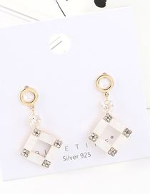 Fashion Gold Plated Gold Small Square S925 Silver Needle Earrings