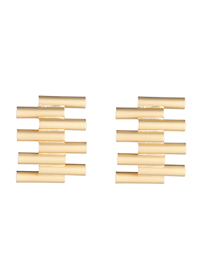 Fashion Gold Plated Gold Small Ladder S925 Silver Needle Earrings (matte Gold)
