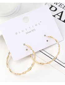 Fashion Gold Plated Gold Circle S925 Silver Needle Earrings