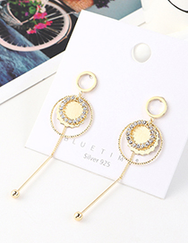 Fashion Golden Real Gold Plated Tassel Small Circle S925 Silver Pin Earrings