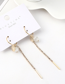 Fashion Golden Real Gold-plated Tassel Glass Beads S925 Silver Pin Earrings