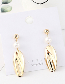 Fashion Golden Real Gold Plated Pearl Lotus Leaf S925 Silver Pin Earrings