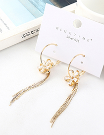 Fashion Golden Small Buds Plated Real Gold Tassel S925 Silver Pin Earrings