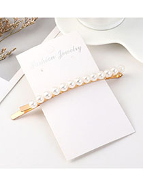 Fashion Beige Big Pearl Hairpin