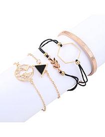 Fashion Black Triangle Leaf Geometric Bracelet Set