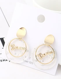 Fashion 14k Gold Letter Disc Geometry Earrings