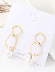 Fashion 14k Gold Hollow Pearl Geometry Earrings