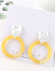 Fashion Matt Silver + Yellow Alphabet Acrylic Circle Earrings