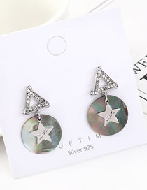 Fashion Platinum Resin Star With Diamonds Earrings